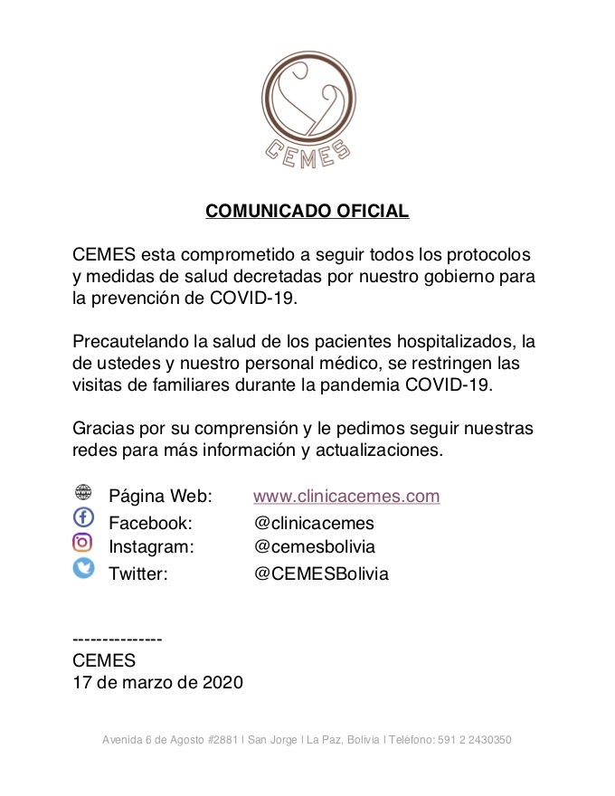 Comunicado Oficial de CEMES -  Restricción de Visitas